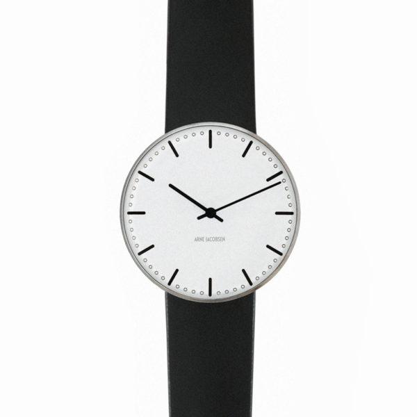 Arne Jacobsen - City Hall, 34 mm, witte wijzerplaat, zwarte band