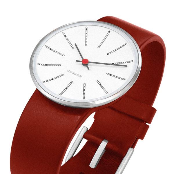 Arne Jacobsen - Bankers, 40 mm, witte wijzerplaat, rode band